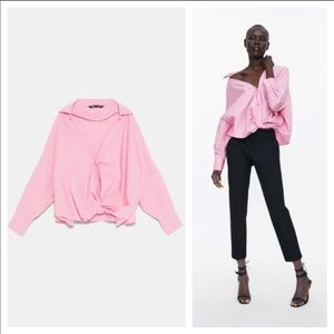 ZARA PINK LOOSE FRONT KNOT BLOUSE